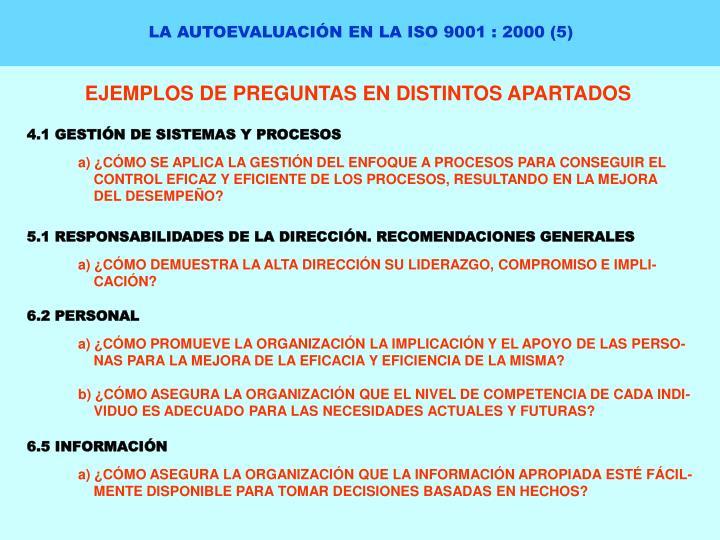LA AUTOEVALUACIÓN EN LA ISO 9001 : 2000 (5)