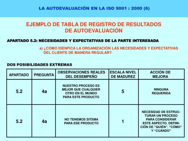 LA AUTOEVALUACIÓN EN LA ISO 9001 : 2000 (6)