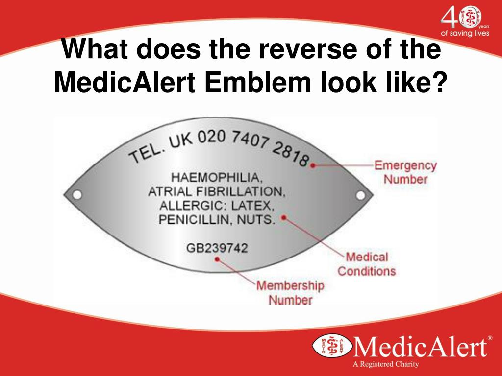 What does the reverse of the MedicAlert Emblem look like?