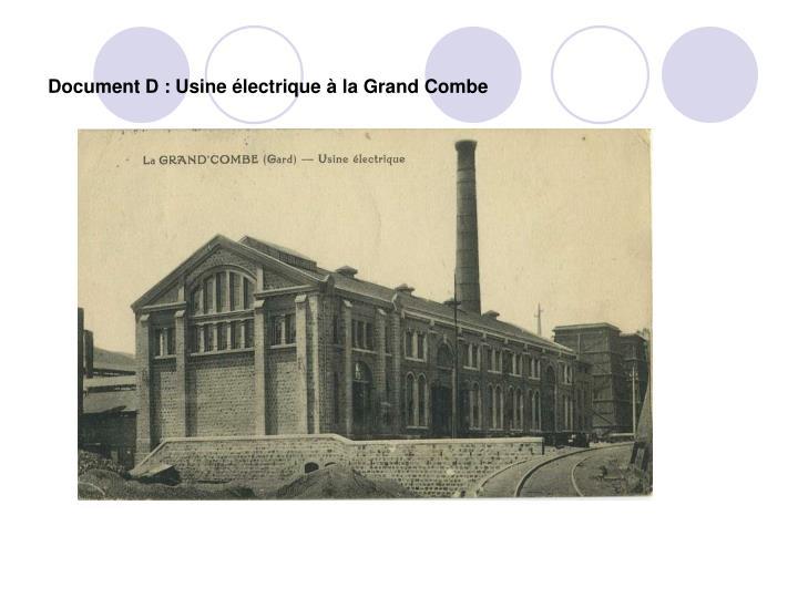 Document D : Usine électrique à la Grand Combe