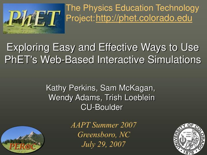The physics education technology project