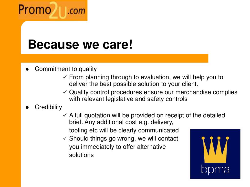 Because we care!