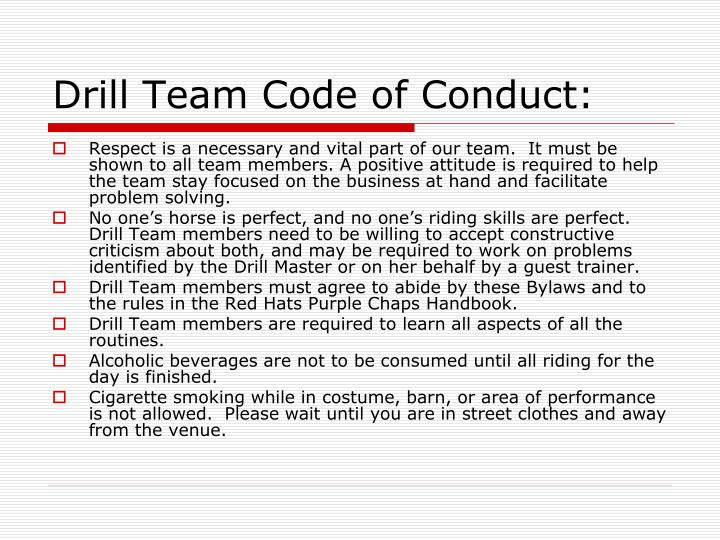 Drill Team Code of Conduct: