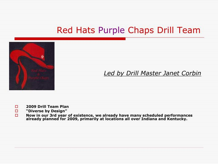Red hats purple chaps drill team1