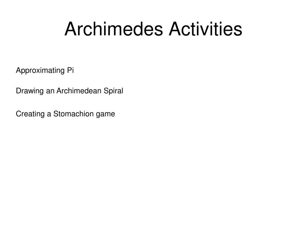 Archimedes Activities