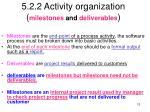 5 2 2 activity organization milestones and deliverables