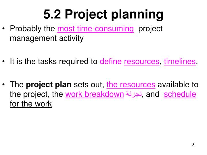 5.2 Project planning
