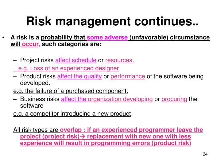 Risk management continues..