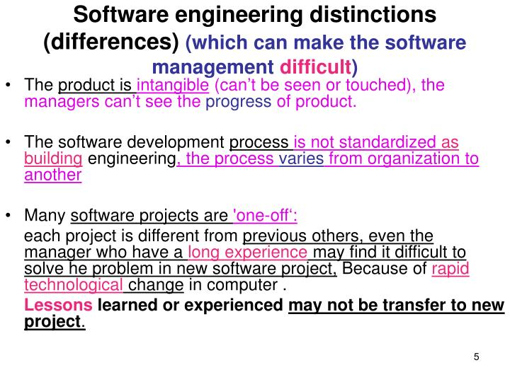 Software engineering distinctions (differences)