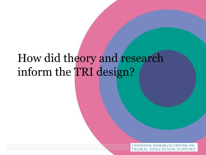 How did theory and research inform the TRI design?