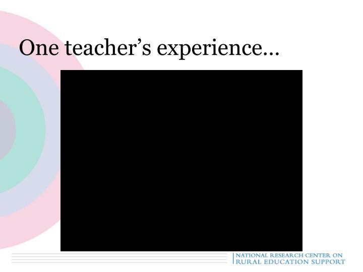 One teacher's experience…