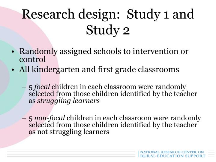 Research design:  Study 1 and Study 2