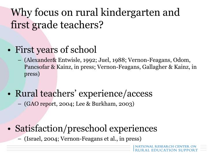 Why focus on rural kindergarten and first grade teachers?