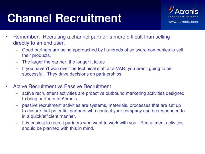 Channel Recruitment