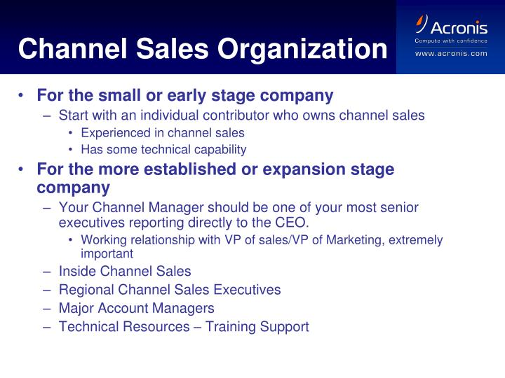 Channel Sales Organization