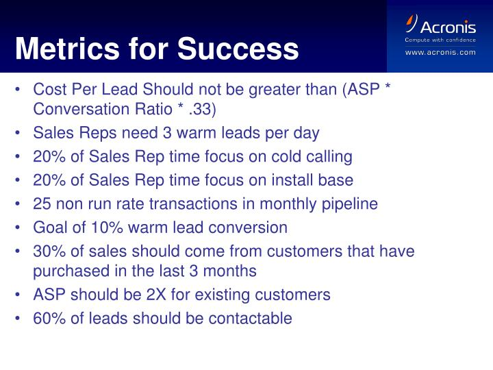Metrics for Success