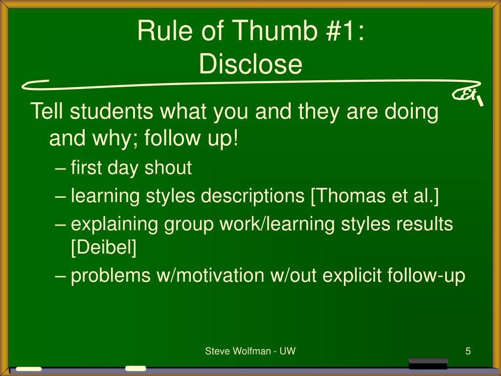 Rule of Thumb #1:
