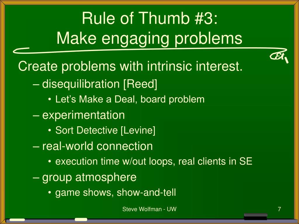 Rule of Thumb #3: