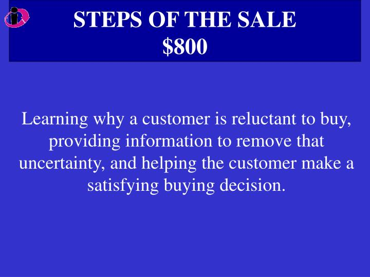 STEPS OF THE SALE
