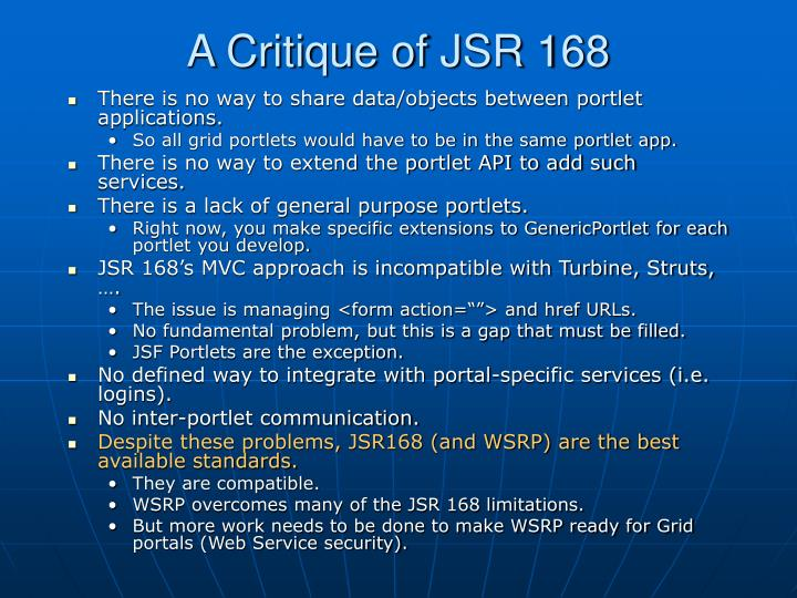 A Critique of JSR 168