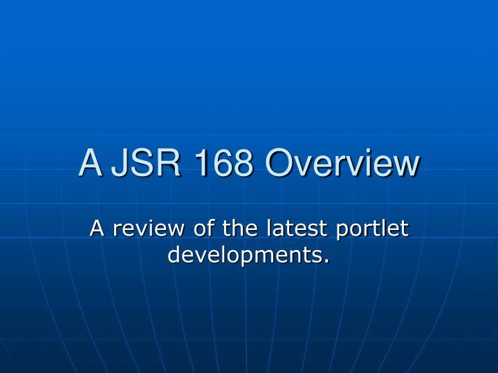 A JSR 168 Overview