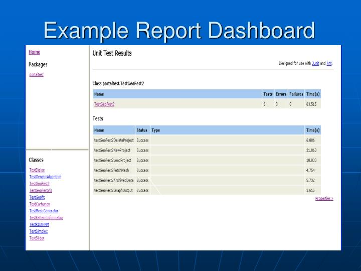 Example Report Dashboard