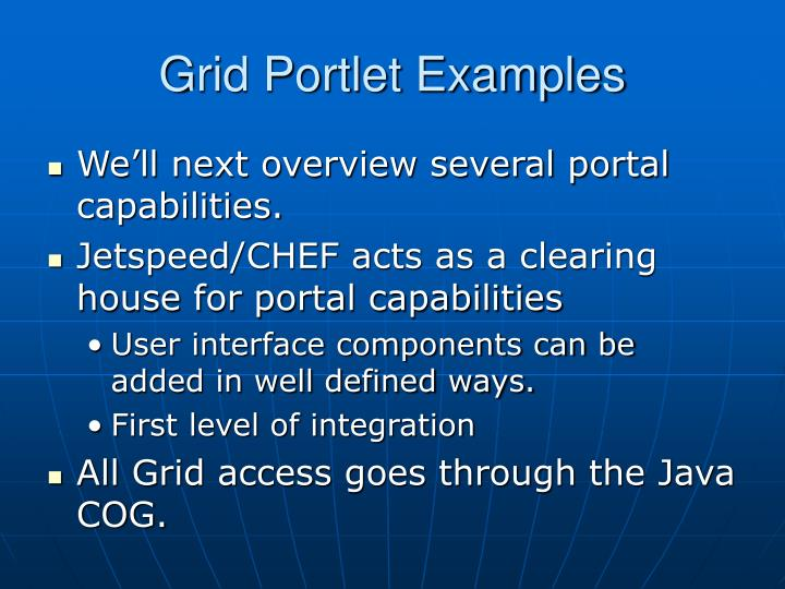 Grid Portlet Examples