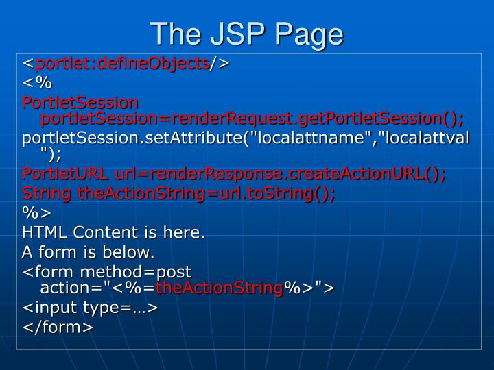 The JSP Page
