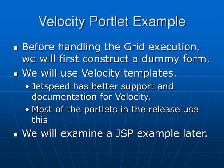 Velocity Portlet Example
