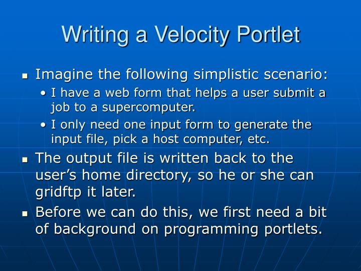 Writing a Velocity Portlet