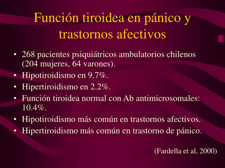 Función tiroidea en pánico y trastornos afectivos