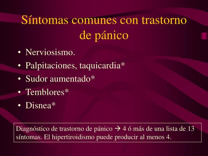 Síntomas comunes con trastorno de pánico