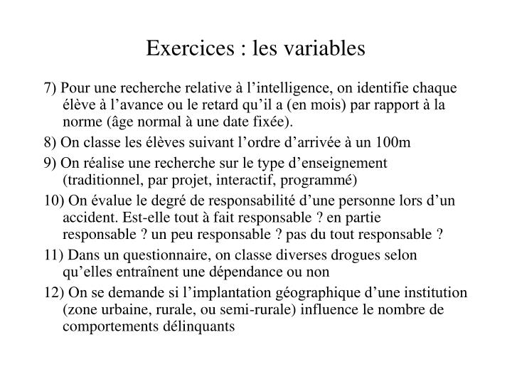 Exercices : les variables