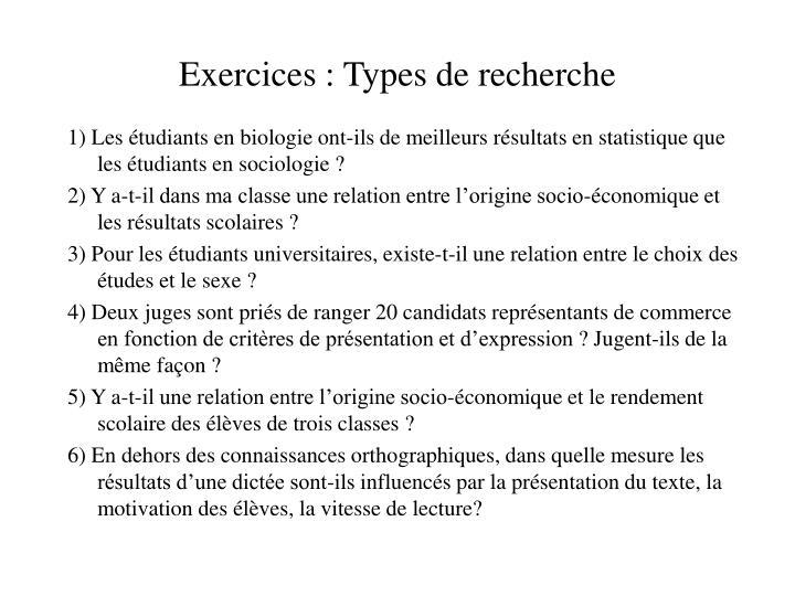 Exercices: Types de recherche