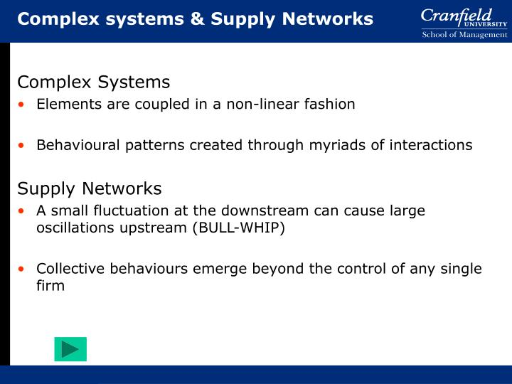 Complex systems & Supply Networks