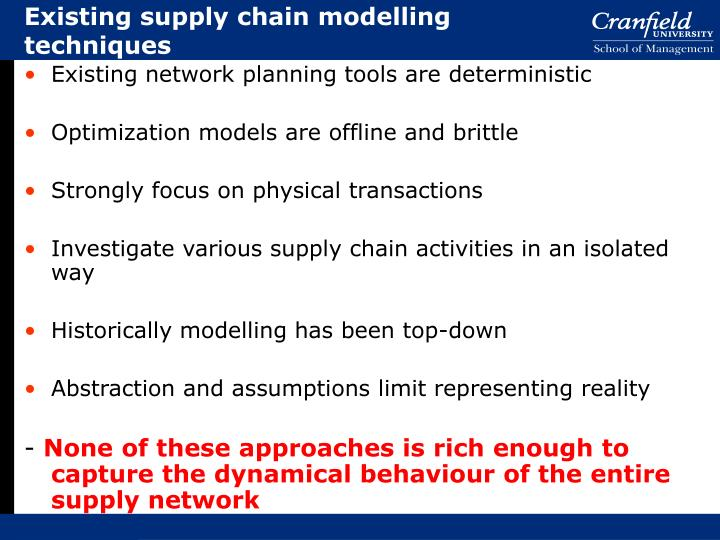 Existing supply chain modelling techniques