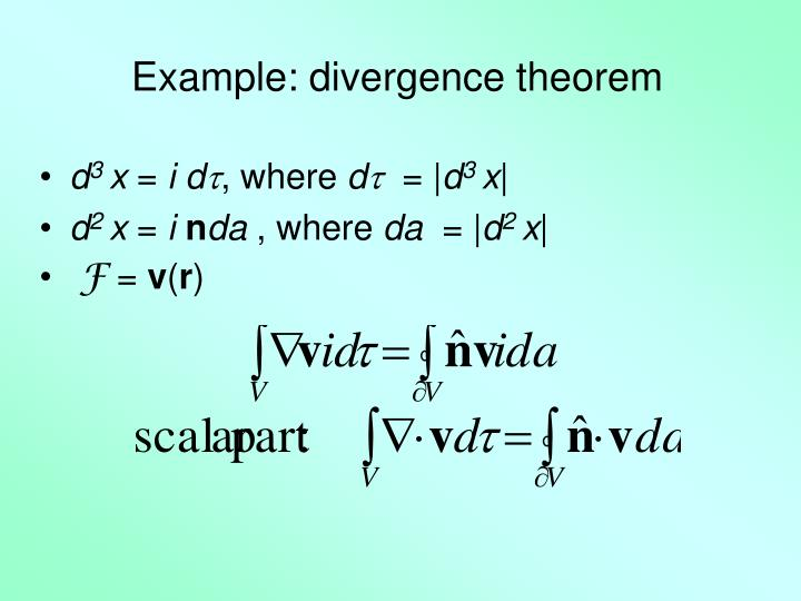 Example: divergence theorem