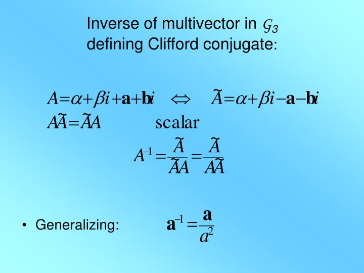 Inverse of multivector in