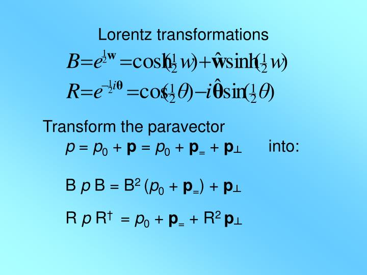 Lorentz transformations