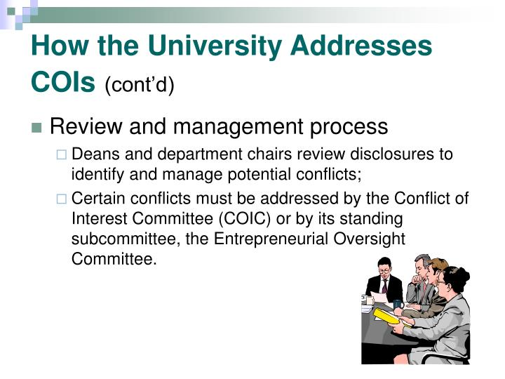 How the University Addresses COIs