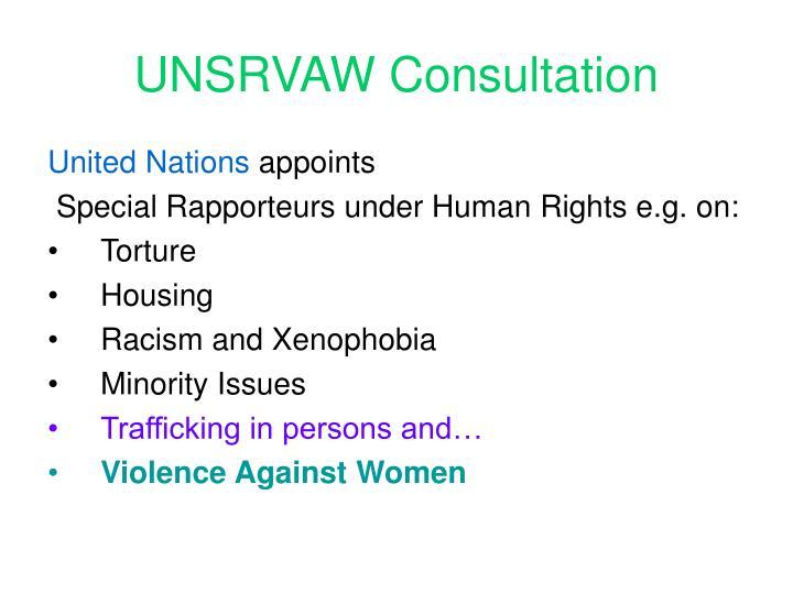 UNSRVAW Consultation