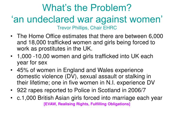 What s the problem an undeclared war against women trevor phillips chair ehrc