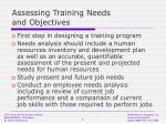 assessing training needs and objectives