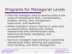 programs for managerial levels