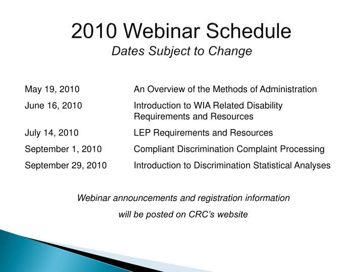 2010 Webinar Schedule
