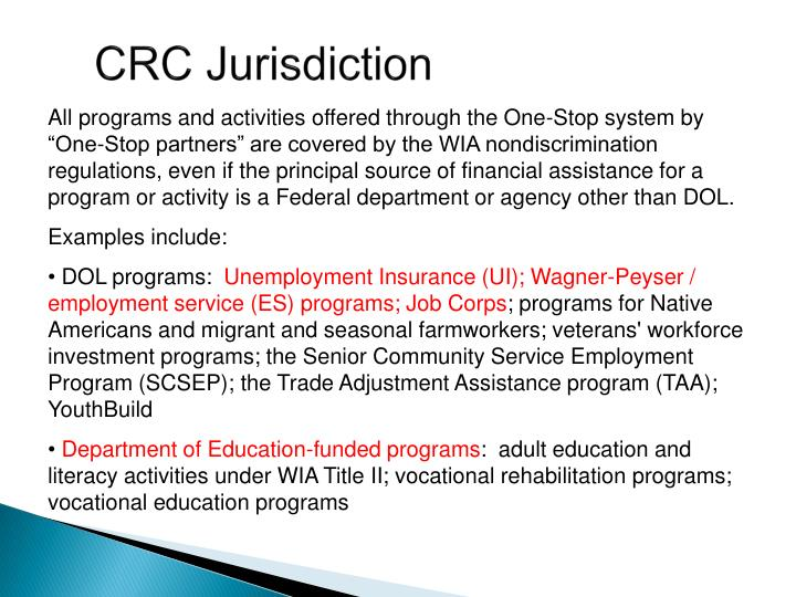 CRC Jurisdiction