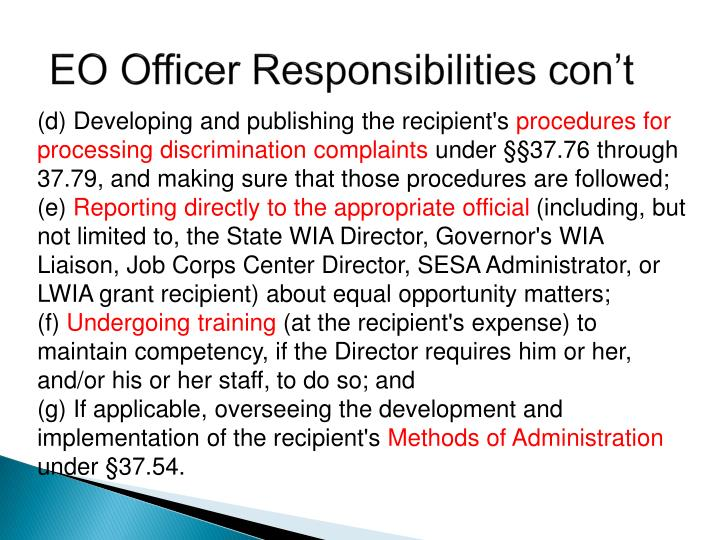 EO Officer Responsibilities con't