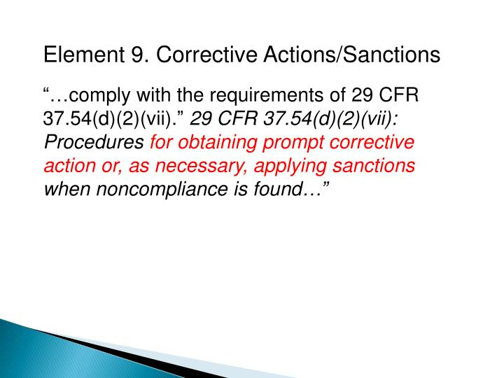 Element 9. Corrective Actions/Sanctions
