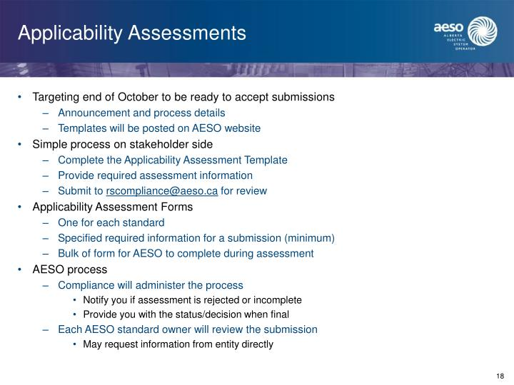 Applicability Assessments