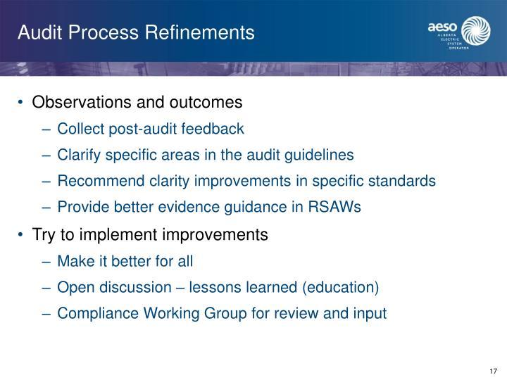 Audit Process Refinements